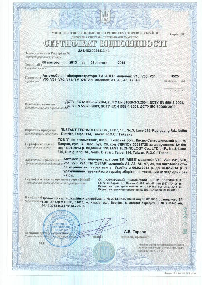 Сертификат соответствия Abee